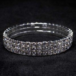 3 row crystal stretch bracelet