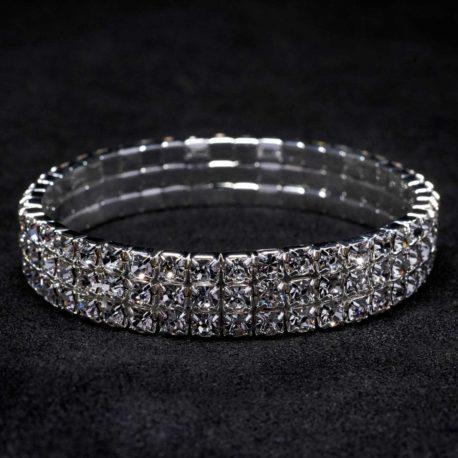 3 row crystal stretch bracelet