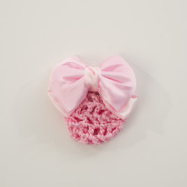 PINKBOW WITH PINK SNOOD-BARRETTE