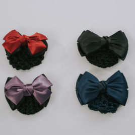 BOW WITH SNOOD-BARRETTE-RD PU BLU BLK