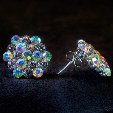 crystal AB mixed cluster earrings