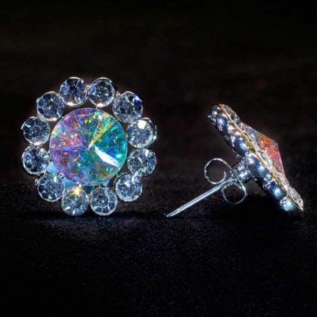 crystal AB mixed flower earrings