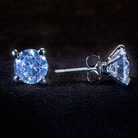 crystal stud pierced earrings