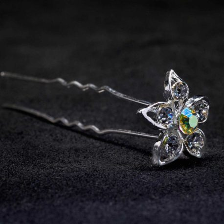 large crystal AB flower hair pin