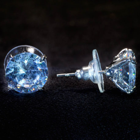 crystal stud pierced earrings