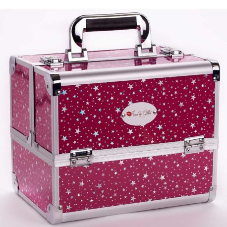 Hot pink stars makeup case