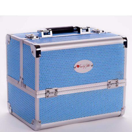 Light blue diamond makeup case