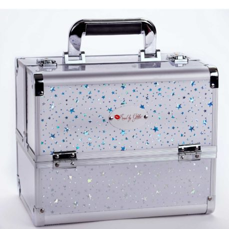 White and silver stars makeup case